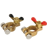 Pair of bronze clips for batteries