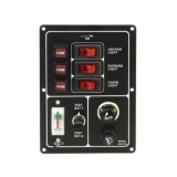 Vertical 3-gang Switch Panel, Battery Tester/Cigarette Lighter, 12V (30A)