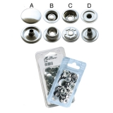 Complete Stainless Steel Dot Fastener Button pack, 10 pcs
