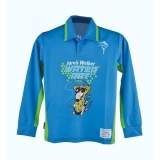 Рубашка детская для рыбалки, длинный рукав, синий/зеленый, № 10
