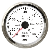 Speedometer Sea-V Series 55MPH, Ø85mm, 12/24V, S.S.-White, by pressure