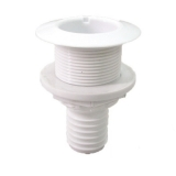 Thru-Hull w/Fl.Flange,1½'' f/Hose Ø32mm, L98mm, White
